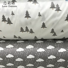 100% cotton twill cloth cartoon white gray pine clouds raining fabric for DIY kids bedding cushions crafts handwork quilting