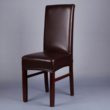 Brown Leather PU Chair Covers Elastic Deep Office Chair Covers For Weddings Banquet Home Hotel Dining Chair Seat Covers V20(China)
