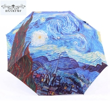 Anti-UV Sun/Rain Umbrella Manual Romantic Van Gogh Starry Sky Oil Painting Non-Automatic Umbrella Unique Durable Folding