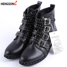 2017 Fashion Studded Ankle Boots Women Winter PU Leather Shoes High Top Flat Martin Boots Female Ladies Black Ridding Boots 43(China)