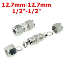 "2Pcs 1/2""-1/2"" OD (12.7mm-12.7mm)  Double Ferrule Tube Straight Compression Fitting SS Pipe Connector Stainless Steel 304"
