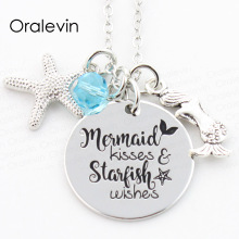 Buy MERMAID KISSES AND STARFISH WISHES Engraved Mermaid Pet Pawprint Pendant Charms Necklace Gift christmas Jewelry 10Pcs/Lot for $11.55 in AliExpress store