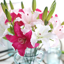 6Pcs/lot French perfume Lily artificial fake silk flower home garden party wedding decoration silk flower french lily for room