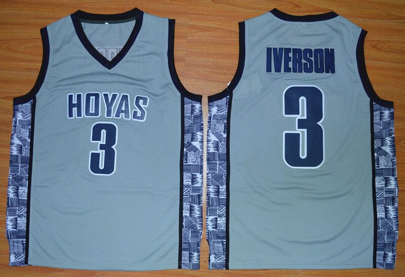 #3 Allen Iverson Georgetown Hoyas College Basketball Jersey Embroidery Stitched Custom any Number and name(China)