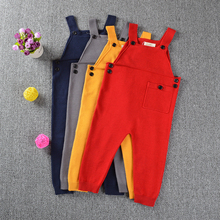 New 2017 Spring Children Kids Candy Color Bib Harem Pants 1-5Yrs Boys Girls Pocket Knitted Overalls Jumpsuits Baby Clothing(China)