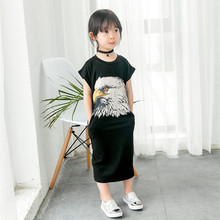 New Fashion Girls Black Dress For Children Summer Clothes Eagle Printed Casual Dress For 2-7 Years Old Kids Garment Drop Ship