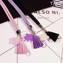 Luxury Neck cell phone mobile chain straps keychain Charm Cords DIY Hang Rope Lariat Stars Tassels Lanyard for iphone 8 7 6 5 5c(China)