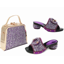 Latest African Women Wedding Shoes and Bag Set Decorated with Rhinestone Shoes and Bag Set African Sets 2017 Shoes and Bag Set(China)