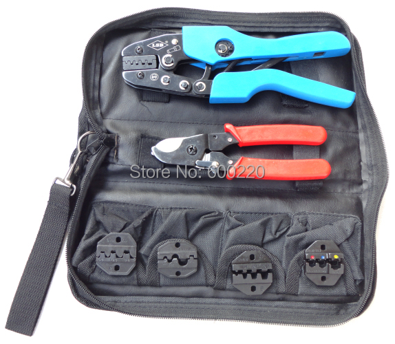 Top Quality Crimping tool kit AN-K06WF Tool set with hand crimping tools with replaceable dies and cable cutters in one bag<br><br>Aliexpress