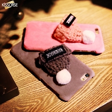 KISSCASE Plush Case For iPhone 6 6s Plus Lovely Knitted Hat Phone Shell Christmas Cap Hard Protective Cover For iPhone 6 6s Plus