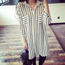 Blusas 2017 Autumn Women Elegant Korean OL 3/4 Sleeve Stripe Lapel Shirts Ladies Casual Loose Long Blouse Tops US Plus Size 4-24