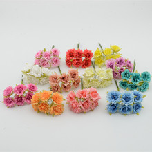 6pcs/bunch 2cm Artificial flowers small rose silk flower ball DIY handmade materials  decorative wreath bouquet