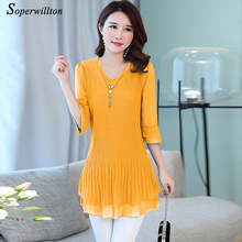 Buy L-5XL Summer Fashion Long Chiffon Blouse Women Shirts Casual Tops Blouse Blusa Femainie Plus Size Women Clothing #B23 for $14.40 in AliExpress store