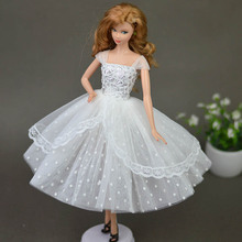 Pure White Doll Dresses Clothes Elegant Lady Evening Dress for Barbie Doll For 1/6 BJD Doll House Gift Doll Accessories