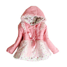 Girls Clothes  2016 New Design Autumn & Winter Floral Printed Girl Jacket Thick Warm Kids Outwear Coat 2-5 Years Baby Girls Coat