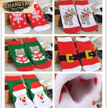 5pcs Christmas Themed Children Pure Cotton Cartoon Jacquard Socks Red Christmas Baby Socks Absorb Sweat Permeability Socks(China)