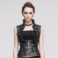 Devil Fashion Steampunk Gothic Vintage Leather Waistcoat for Women Victorian Ladies Sleeveless Jacket Vest