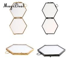 2pcs Vintage Hexagon Metal & Glass Picture Photo Frame Hanging Frame Black+Copper(China)