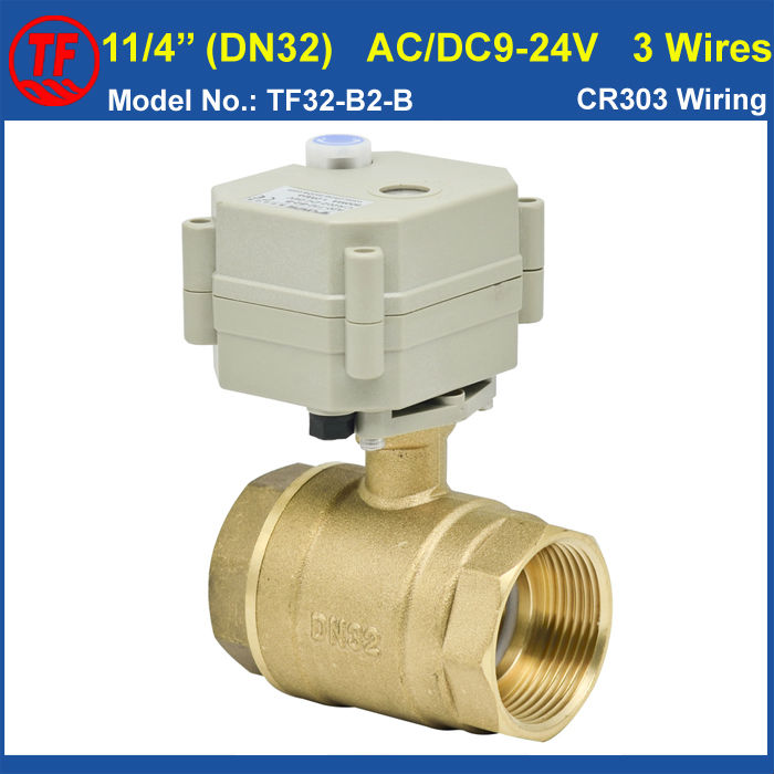 11/4 AC/DC9-24V 3 Wires Motorized Ball Valve, 2 Way DN32 Electric Motor Operatedl Valve With Indicator And Manual Override<br><br>Aliexpress
