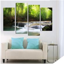 4 Panels Modern HD Prints Forest River Painting Pictures Cuadros Canvas Art Landscape Paintings For Living Room Unframed(China)