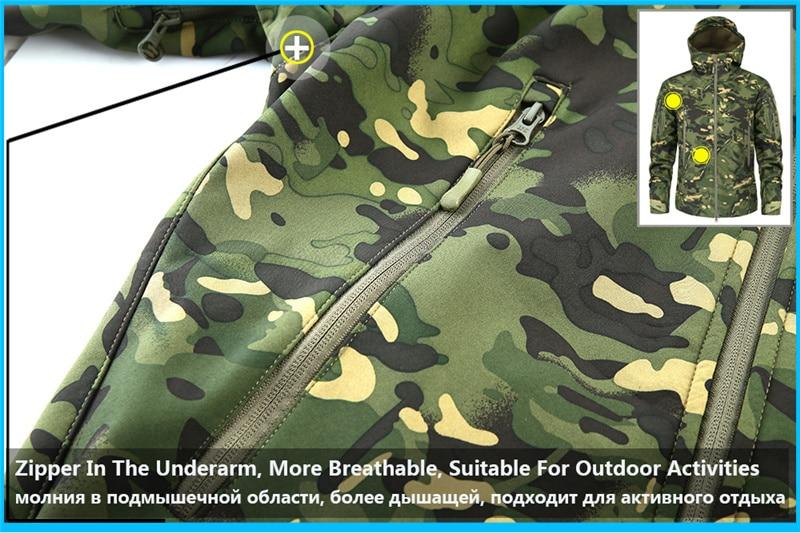 Mege Shark Skin Soft Shell Military Tactical Jacket Men Waterproof Army Fleece Clothing Multicam Camouflage Windbreakers 4XL 11
