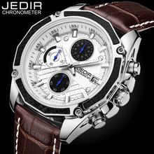 JEDIR Quartz Male Watches Genuine Leather Watches Racing Men Students Game Run Chronograph Watch Male Glow Hands Clock N40(China)