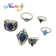 Newindy 6 pcs/set Indian Jewelry Boho Rings Antique Silver Color with Blue Enamel Purple Beads Hollow out Geometric Ethnic Ring