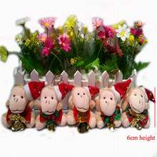 NEW ARRIVAL!!! 6CM height Plush Monkey Christmas tree decorations and ornaments gift wholesale lovely new year toys,12pcs/lot t
