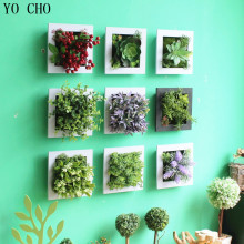 YO CHO 3D Handmade artificial succulent plant wood photo frame wall hanging Imitation artificial flowers home decor living Room