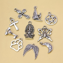 Tibetan Silver Cat Dog Footprint Butterfly Ferry Pentacle Elephant mixing Charm Pendant Fashion Jewelry Findings 10pcs S6555