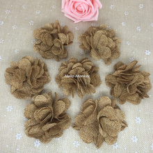 50pcs/lot Handmade Jute Hessian Burlap Flower Rose Chic rustic Wedding Decor Party Supplies vintage wedding decoration DIY craft(China)