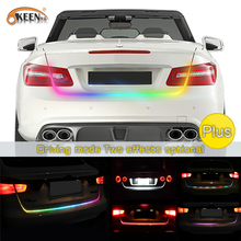 OKEEN 47.6inch RGB colorful flowing LED strip for car trunk dynamic blinkers led turn light Tail Trunk lights LED Warning Light(China)