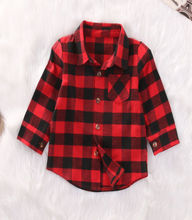 2017 Red Baby Kids Boys Girls Long Sleeve Shirt Plaids Checks Tops Blouse Clothes Outfit(China)