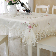 European pastoral cloth lace embroidery lace tablecloth with napkins table cloth jacquard cloth round tablecloth(China)