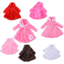 Doll Accessories Winter Warm Wear Pink Fur Coat Clothes For Barbie Dolls Fur Doll Clothing For 1/6 BJD Doll Kids Playhouse Toy(China)