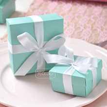 50pcs/lot Mint green Candy Paper Boxes Gift Box Gifts Bag with Satin Ribbon for Wedding Favors Birthday Party Supply Decoration(China)