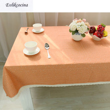 Free Shipping Small Flowers Orange Tablecloth Home/Hotel Table Cover Mantel De Mesa Multifunction Printed flax Covered Cloth(China)