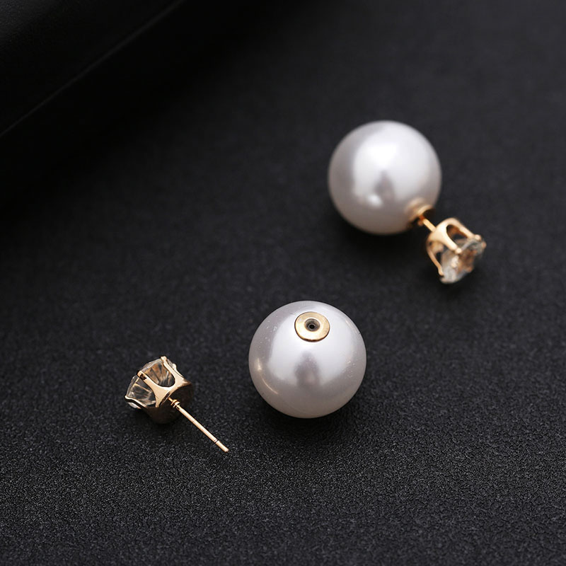 Imitation Pearl Jewelry sets for Women Gold-color Metal Chain Round White Pearl Necklace and Earing set Austrian Crystal Jewelry (5)