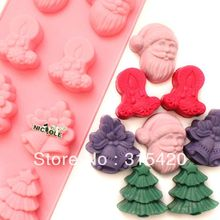 Nicole B0144 Christmas Silicone Cake  Mold Molds Diy Pastry Tools Bell Saint Claus Christmas Tree Candle Singapo Post