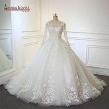 AMANDA NOVIAS Ball Gown Long Sleeve Wedding Dress
