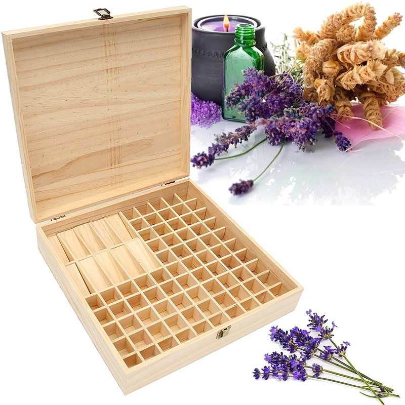 Solid Wood Essential Oil Bottle Storage Box Oversized Model Multiple Compartments Natural Essential Oil Display Case 1