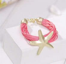 Min. order is 9usd(can mix)Korean fashion fresh hand woven rope starfish bracelet female casual leather strap bracelet retro