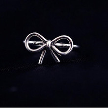 Simple Element 925 Sterling Silver Jewelry Bow Female Wholesale Hot Popular Beautiful Opening Ring   SR188