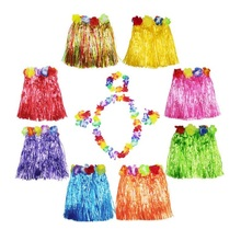 50 Sets 30cm Hawaiian Hula Grass Skirt + 4pc Lei Set for Child Luau Fancy Dress Costume Party Beach Flower Garland Set ZA1581(China)