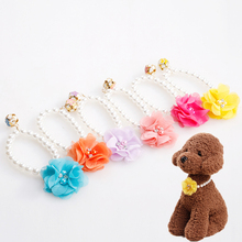 Pet Collar Pearl Necklace Style Pattern Elastic Luxury with Flower Jewelry Ring Colorful Fashion PU for Small Baby Dog Cat(China)