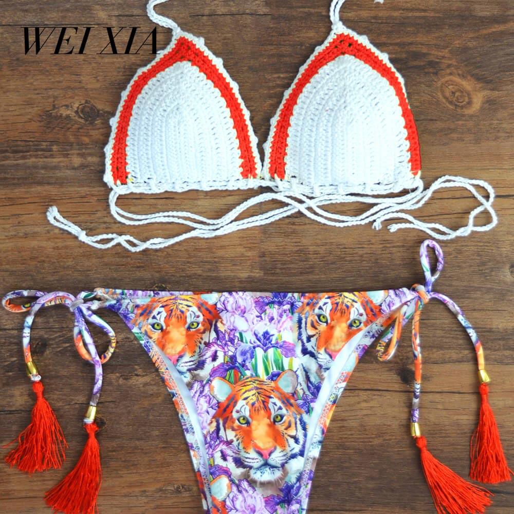 WEIXIA 2018 Hot Sale Colorful Swimwear women z008 Bandage Bikini Sets Push Up Bra Swimsuit Brazilian Bathing Suit<br>