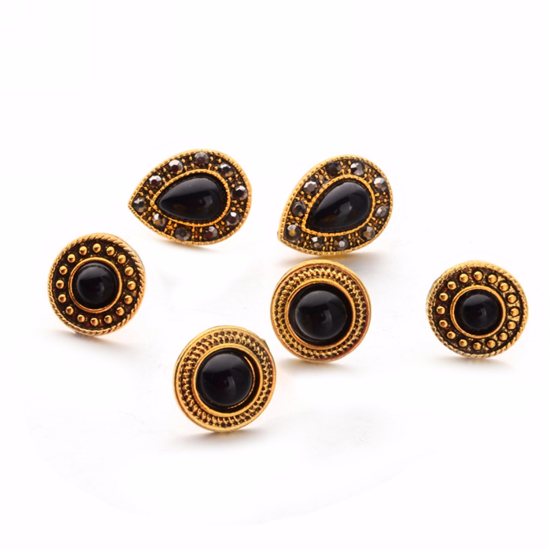 5 Pairs/set Classic Round Waterdrop Ear Stud Earring Punk Hip Hop Silver Gold Cool Pierced Earring Shellhard Vintage Jewelry