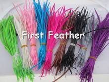 Dyed single feather Hair Extension Acc Dyed Single Goose Biots Loose Feathers for fascinators/sinamay hat/mask,free shipping