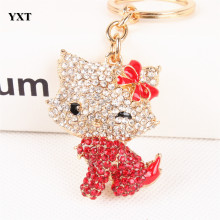 Body Red Butterfly Hello kitty Cat Cute Crystal Charm Purse Handbag Car Key Ring Keychain Party Wedding Birthday Delicate Gift