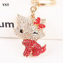Body Red Butterfly Hello kitty Cat Cute Crystal Charm Purse Handbag Car Key Ring Keychain Party Wedding Birthday Delicate Gift(China)